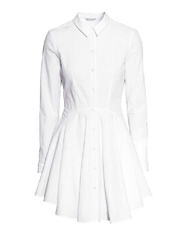 af6b4d2435ca New Arrival Summer Women Brand Fashion Work Wear Office Casual Tunic White  Lapel Long Sleeve Pleated Shirt Dress 6602 -in Dresses from Women s  Clothing on ...