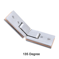 2PCS 304 Stainless Steel Frameless Shower Door Hinges 135 Degree Square Glass Clamps Hinges Brushed Finished