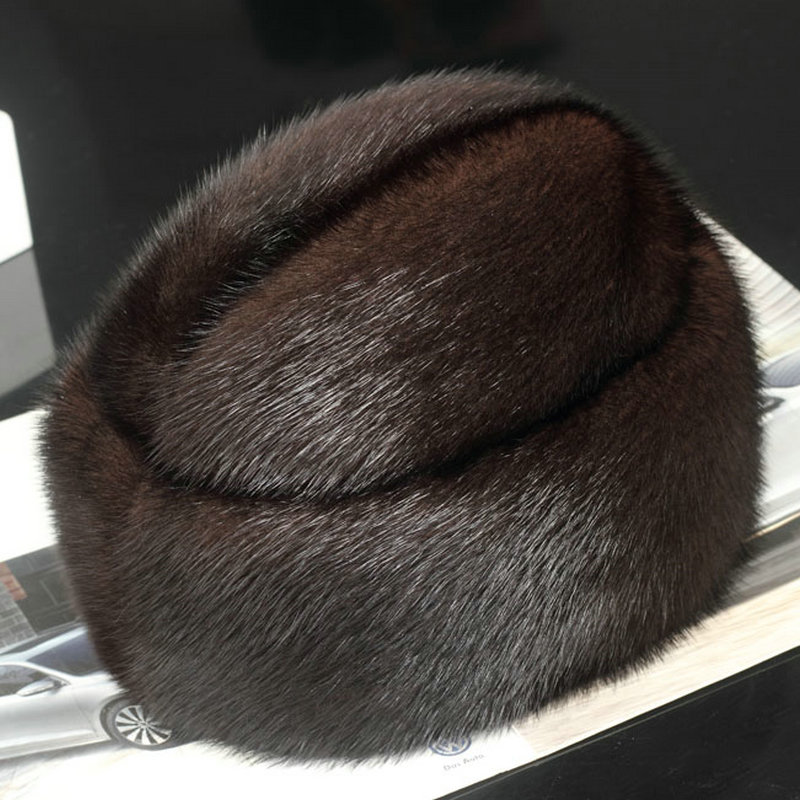 Winter Men Hat Real Mink Fur Warm Hand Made Hats Father s Day Winter  Cotton Polyester Lining Gentleman Hat Nature Men s Caps-in Fedoras from  Apparel ... fb4193aa53c8