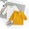 Bebé Camisetas Para Niñas 2016 Otoño Bebé Camiseta de La Manera chico de Impresión Amarillo Camiseta de Los Niños Tops de Manga Larga T-shirt Camiseta Blanca camisa