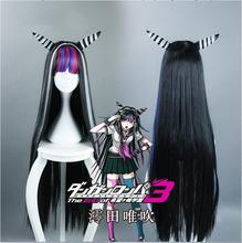 Peruca para cosplay de anime, peruca longa de cabelo sintético, resistente ao calor, para cosplay de danganronpa dtft ronpa mioda ibuki