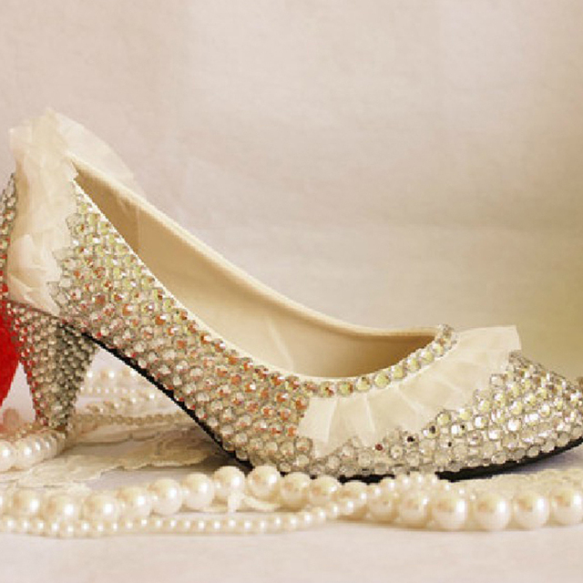 New Silver Lace Rhinestone Low Heels Pumps Lace Pearl Wedding shoes Crystal Bridal shoes Party Heels Shoes Party Prom Shoes
