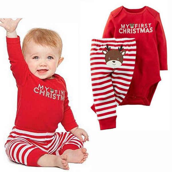 Рождественская Одежда для новорожденных мальчиков и девочек комплект из 2 предметов, топы, комбинезон, штаны комплекты одежды с длинными рукавами для малышей от 0 до 18 месяцев