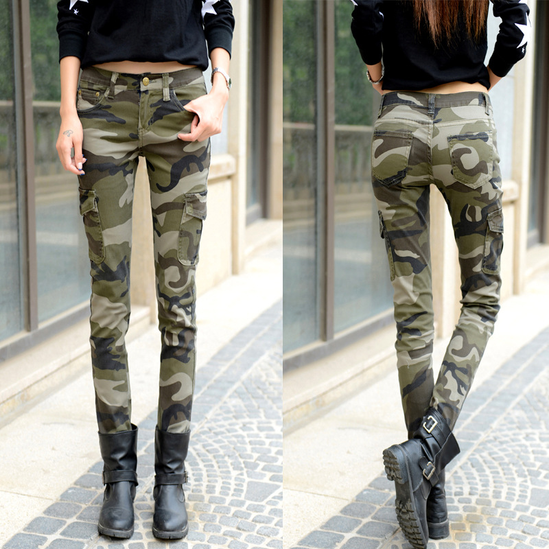 2018 Womens Army   Jeans   Plus Size Camo   Jeans   Women Skinny Stretch   Jeans   Moto Stretch Pencil Pants Personalized Rock Denim pants