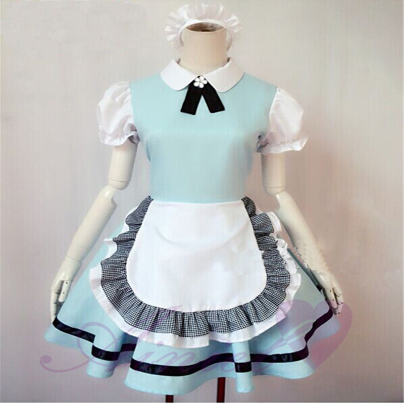 Alice in Wonderland sweet princess cosplay costume cute Maid sky blue sexy comfortable lolita  dress  for women girls