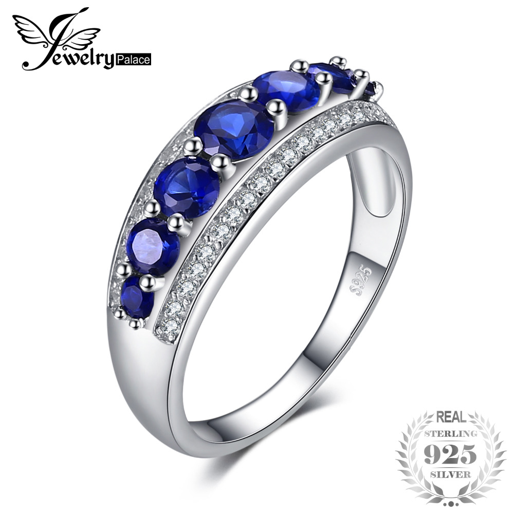 JewelryPalace 1.4ct Created Blue Sapphire Cocktail Ring 100% Real 925 Sterling Silver Charm Wedding Fine Jewelry Rings For Women цена