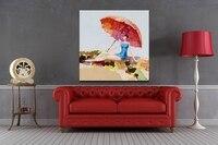 Mooie meisje zitten met paraplu abstracte figuur olieverf art op canvas voor koop online geen frame gerold met buis