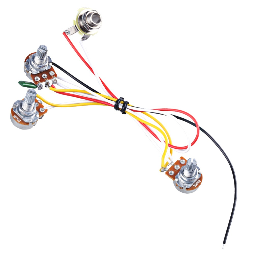 Electric Guitar Wiring Harness Prewired Kit 3 Way Toggle Switch 1 500k Pots Knobs For Strat Stratocaster Pre Wired Volume 2 Tones Jack Input