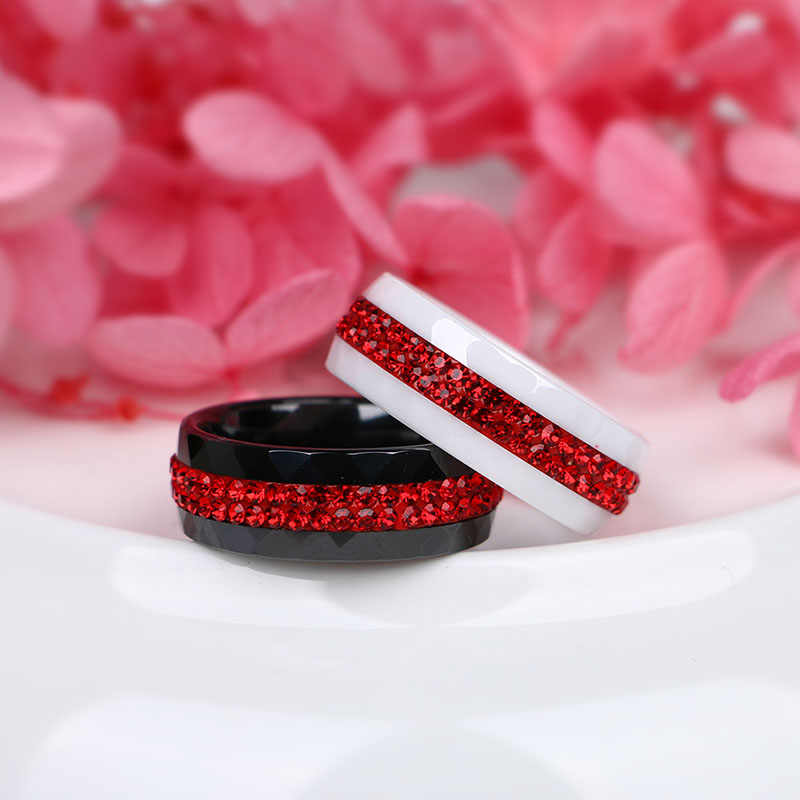 2019 ใหม่แฟชั่นคริสตัลเซรามิคแหวนผู้หญิงเครื่องประดับ 2 แถวสีแดงคริสตัลแฟชั่นผู้หญิงแหวนไม่เคย Fade สีเครื่องประดับ