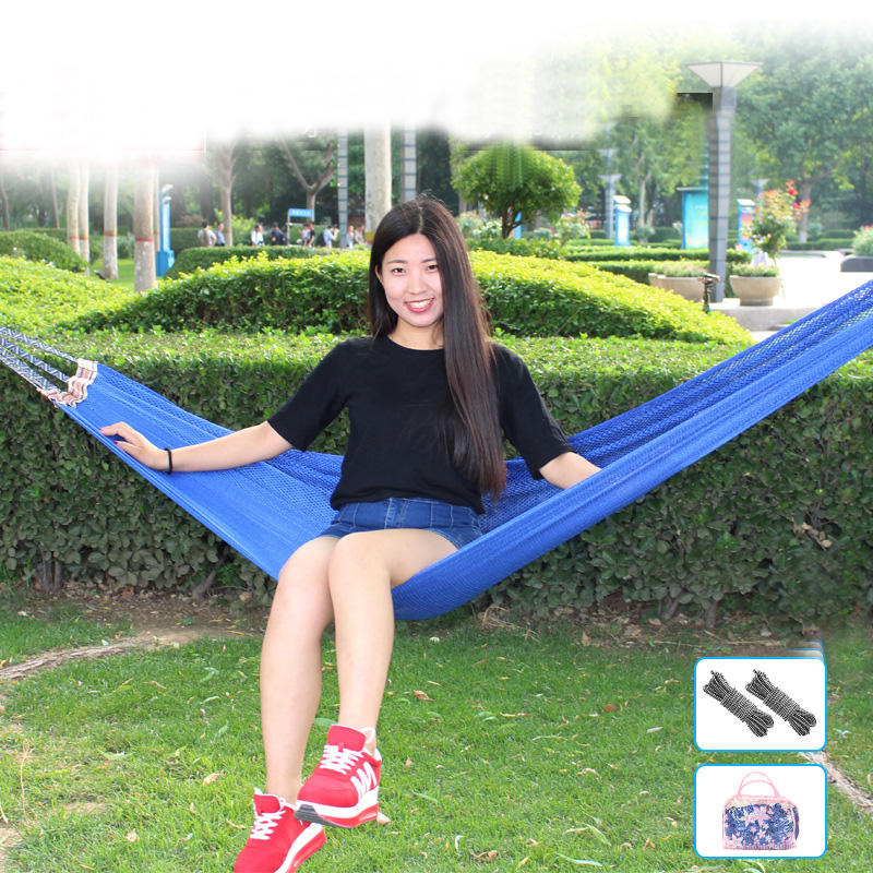 Portable Indoor Outdoor Hammock for Backpacking Camping Garden Hanging Bed Sleeping Ice silk Breathable mesh polyester Hammock