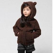 Новый осень и зима девушка мода кофе цвет и симпатичный медведь с застежкой-молнией теплое пальто