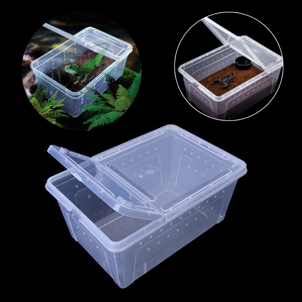 Reptile Insert Box Breathable Live Breeding Feeding Case Plastic Transport For Lizard Reptiles Amphibians Supplies 6-Size C42