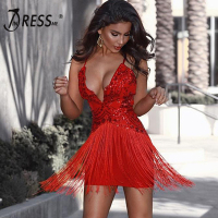 INDRESSME Sexy Deep V Tassel Women Bandage Party Dress Fashion Spaghetti Strap Backless Sequined Women Dress