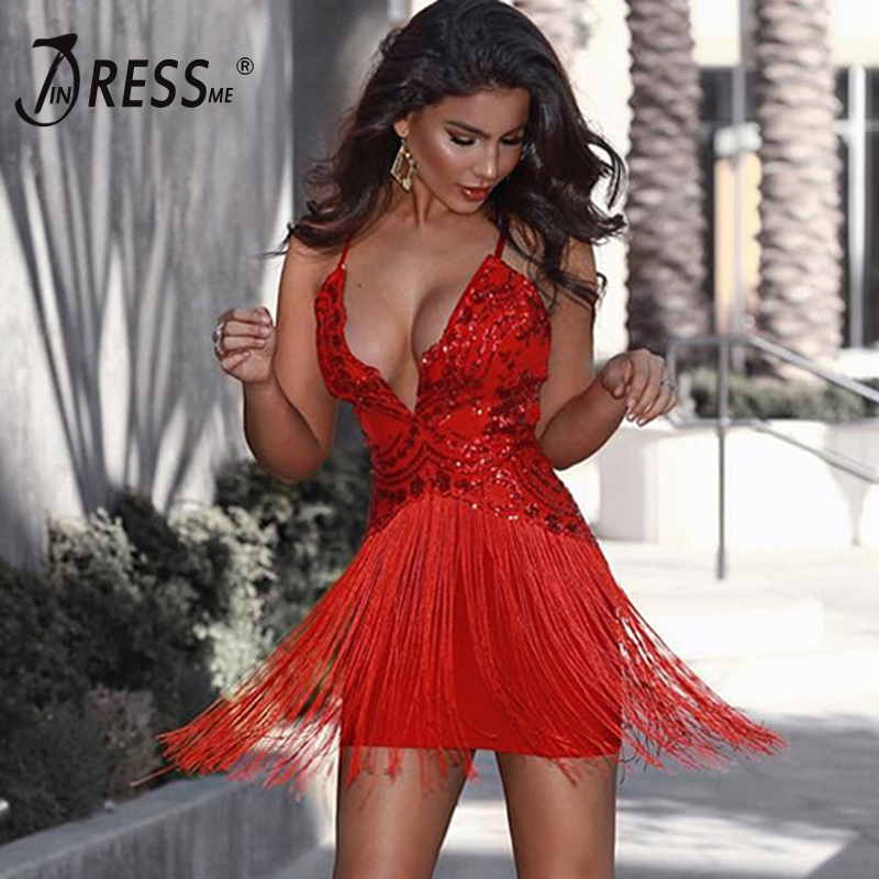 INDRESSME Sexy Deep V Tassel Women Bandage Party Dress Fashion Spaghetti Strap Backless Sequined Women Dress Vestidos 2017