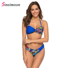 r bust hollow out floral print drawstring bikini set Girls swimwear women swimsuit large  beach swimming