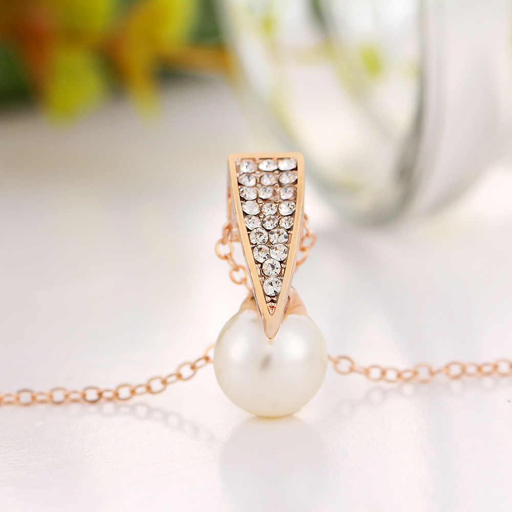Necklace Earrings Set Women Gold Color Imitation Pearl Rhinestone Crystal  Pendant Choker Bridal Wedding Crystal Jewelry Set