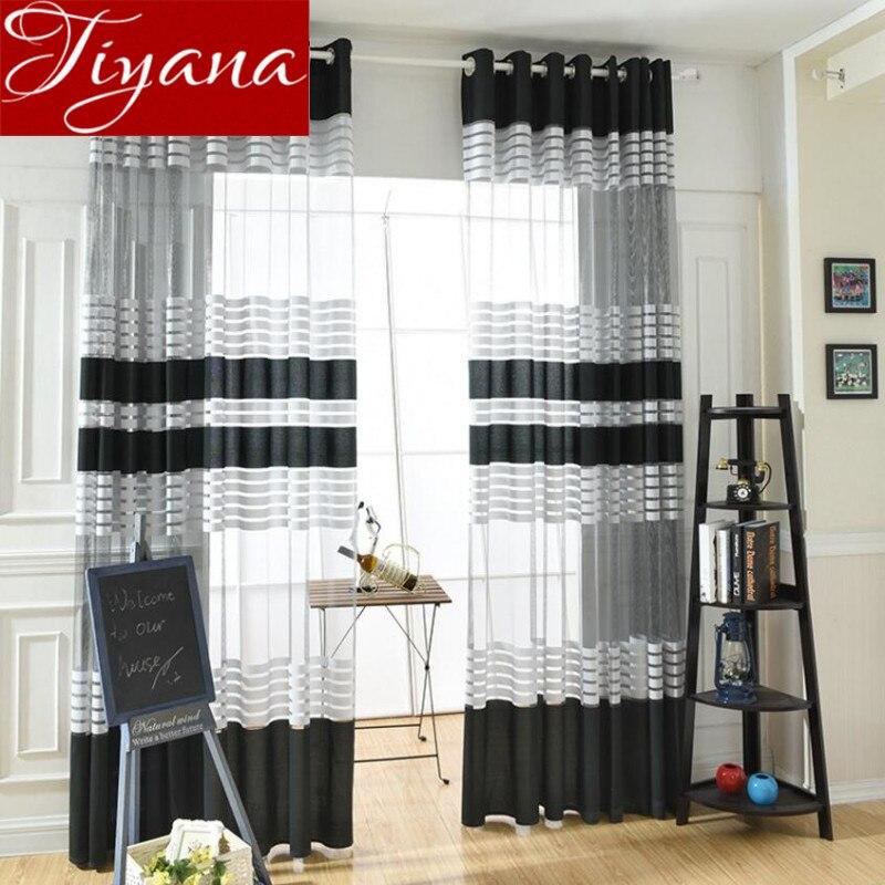 € 7.44 47% de réduction|Voilage fenêtre Rideaux pour salon moderne noir  rayé Voile Rideaux Tulle tissus maison Textiles Rideaux Curtina X231 #30-in  ...