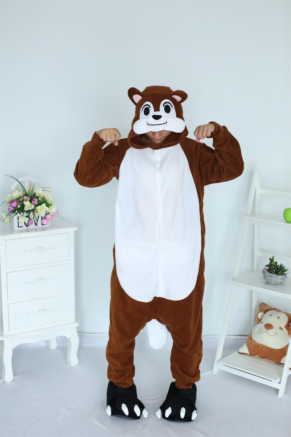 Cartoon Unisex Animal Adult Chipmunk Onesie Pajamas Sleepsuit Sleepwear Anime Cosplay Co ...