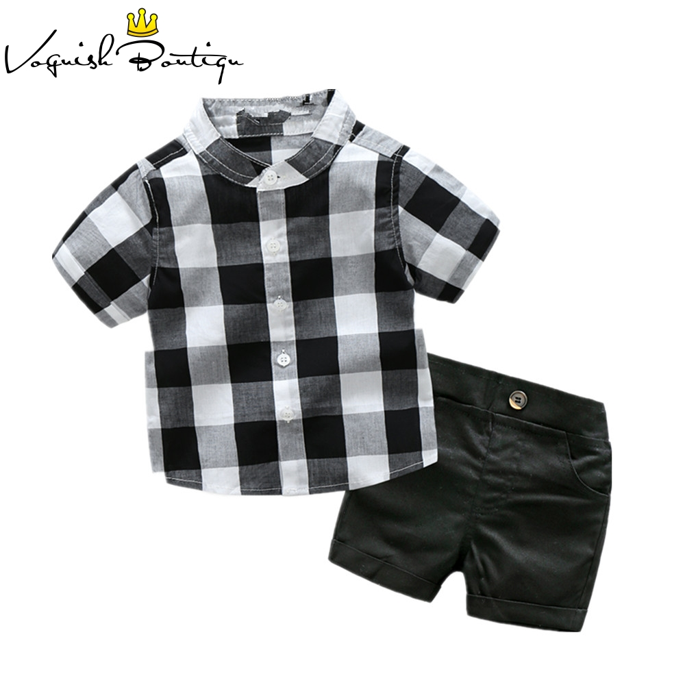Short sleeve shirt with black shorts white and black shirt with shorts for baby boys clothing boys clothes generic little boys 2 piece set of short sleeve t shirt and plaid shorts gray red