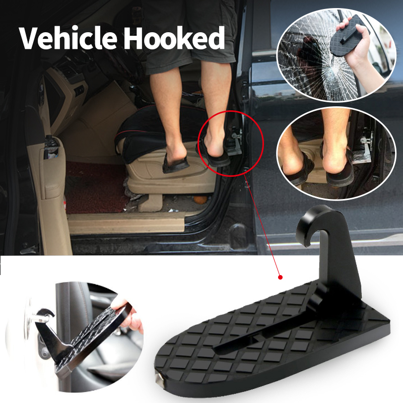 Vehicle Doorstep Hooked On The U Shaped Of Latch With Foldable And Safety Hammer