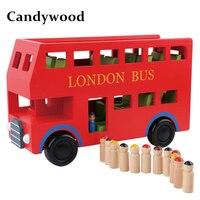 Candywood Neue London Bus Doppeldecker-bus Holz Montage Kinder bildung spielzeug hohe qualität geschenk für kinder jungen