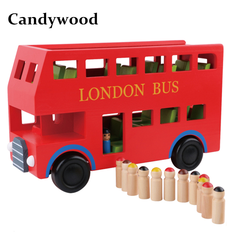 Candywood New London Bus Double Decker Bus Wooden Assembling Children education toys high quality gift for kids boy tourist bus sound light and sound passenger train alloy lifelike sound and light double decker bus kids toys