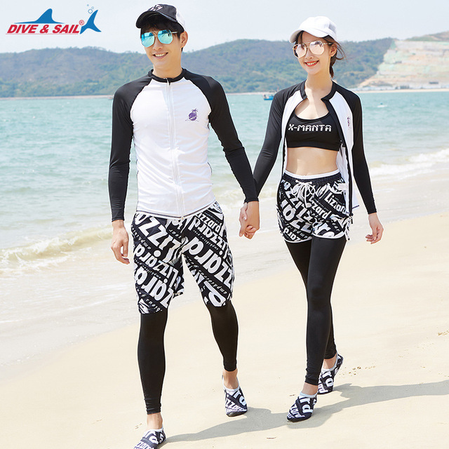 22957e1414c Women Men Korea Style Long Sleeve Rashguard 3/4 Pieces Set Swimming Surfing  Rash Guard