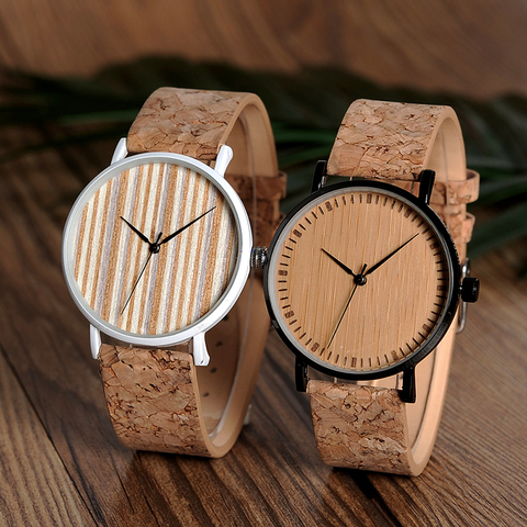 BOBO BIRD E19 Ultra Thin Bamboo Wooden Watches Men Women Simple Quartz Watches Cork Band relojes para mujer Islamabad