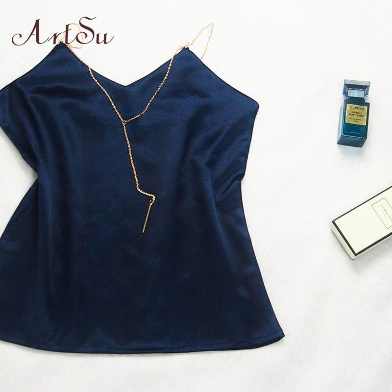 Image 2 - ArtSu/летний топ на цепочке, модный, без рукавов, пляжный, черный, белый, сатиновый Топ, сексуальная одежда, топ для фитнеса, Mujer ASVE20220-in Кроп-топы from Женская одежда on AliExpress