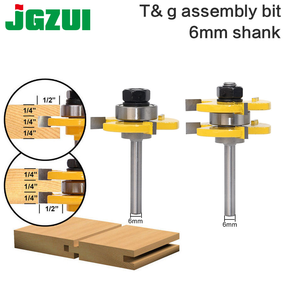 2 pc 6mm Shank high quality Tongue & Groove Joint Assembly Router Bit Set 3/4 Stock Wood Cutting Tool