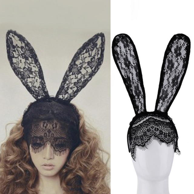 women girl hair bands lace rabbit bunny ears veil black eye mask halloween party costume party - Black Eye Mask Halloween