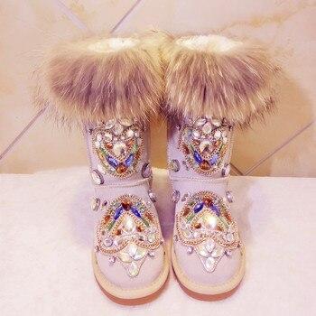 2017 Winter Luxury Big Fox Fur Totem Heavy Pure Handmade Brand Diamond Full Drill Leather Flats Sexy Martin Fur Snow Boots