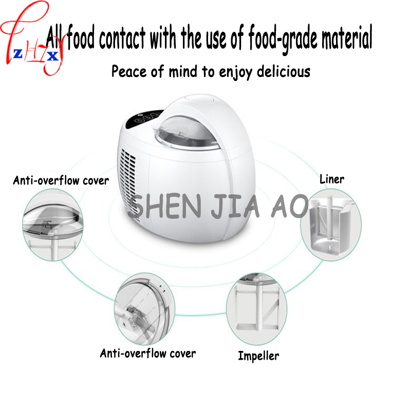 Home 1L automatic large capacity ice cream machine DIY fruit ice cream machine double insulation ice cream machine 220V 110W 1PC free shiping fried ice cream machine 75 35cm big pan with 5 buckets fried ice machine r22 ice pan machine ice cream machine