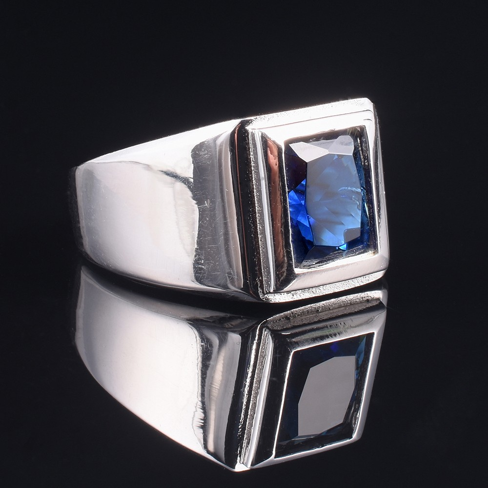 Classic 925 streling Silver 6ct Square Blue Sapphire Rings Eternal Cocktail Wedding ring ...
