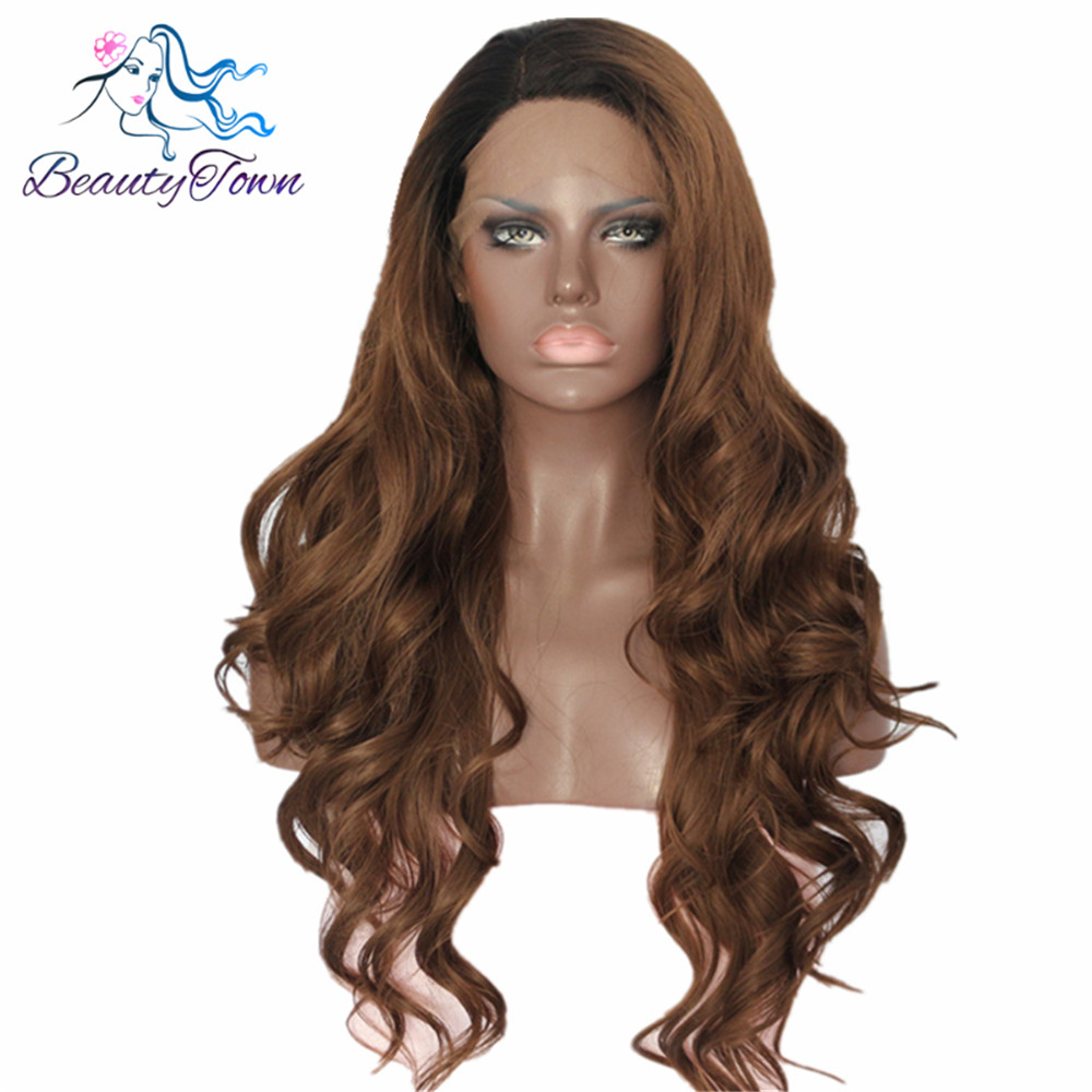 BeautyTown Black Ombre Brown Color Heat Resistant Hand Tied Cosplay Synthetic Lace Front Party Wigs For