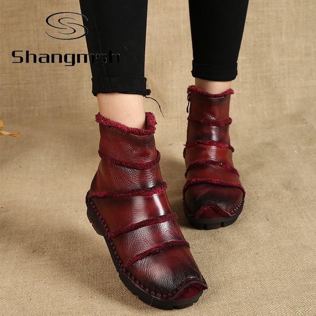 Fashion Martin Boots Genuine Leather Ankle Shoes Vintage Casual Shoes Brand Design Retro Handmade Women's Boots Lady