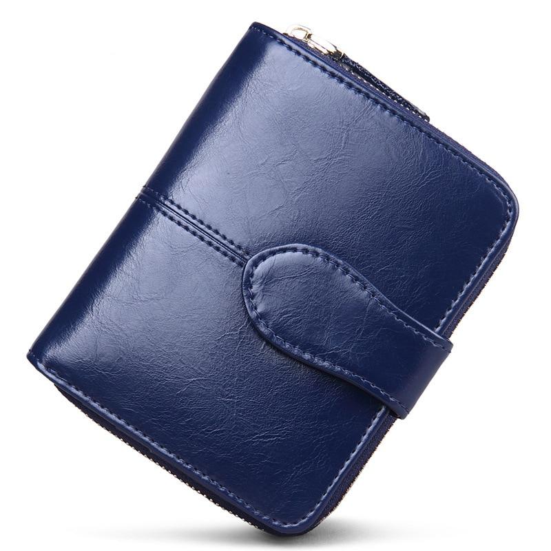 100% Genuine Leather Women Wallets Small Wallet Zipper Coin Pocket Credit Card Wallet Female Purses Money Clip