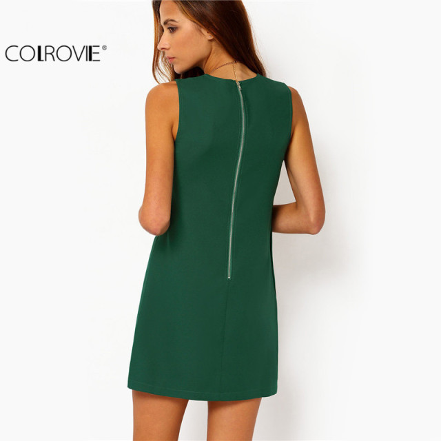 COLROVIE Party Dresses Women Clothing 2017 New Style Back Zipper Round Neck Sleeveless Ruffle Chiffon Short Dress