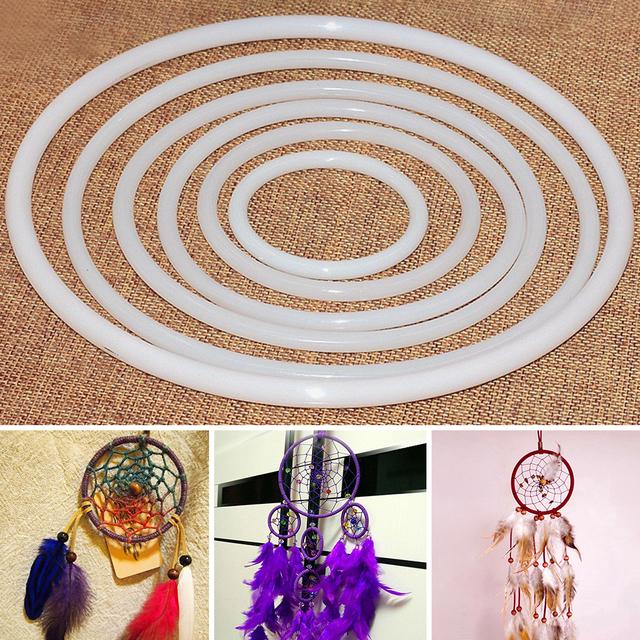 Artesanías de plástico duraderas anillo de atrapasueños DIY Accesorios blanco aro redondo