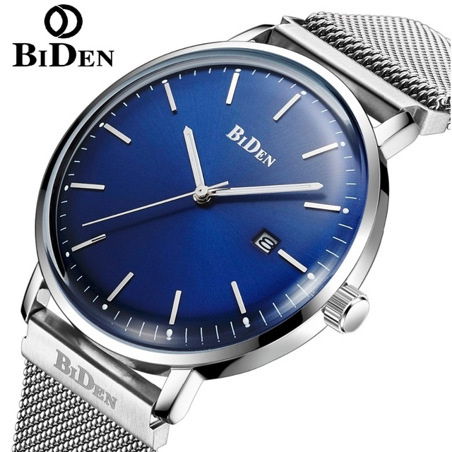 BIDEN Men Quartz Watch Stainless Steel Mesh Band Watches Fashion Slim Man Watches Male Relogio Sport Wristwatches