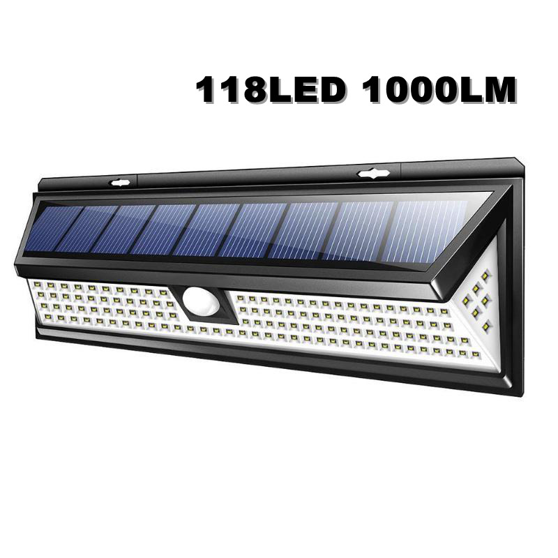 118LED 1000LM Solar Lamp Waterproof PIR Motion Sensor Wall Light Outdoor Garden Yard Wall Lamp 3 Modes Security Solar Light arilux 4 4w 100 led solar wall lamp light pir motion sensor outdoor waterproof garden security street light with 3 modes