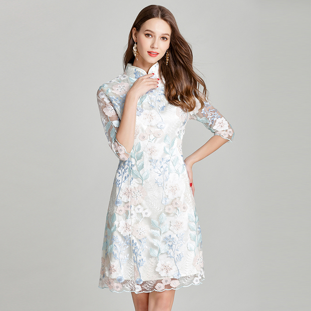 MUSENDA Plus Size Women Lace Embroidery Tunic Cheongsam Dress New Summer Sundress Female Ladies Vintage Party Dresses 4XL