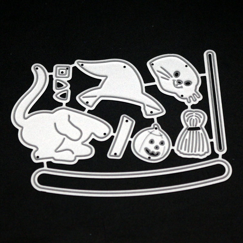 YLCD1308 Halloween Metal Cutting Dies For Scrapbooking Stencils DIY Album Cards Decoration Embossing Folder Craft Die Cuts Tools in Cutting Dies from Home Garden