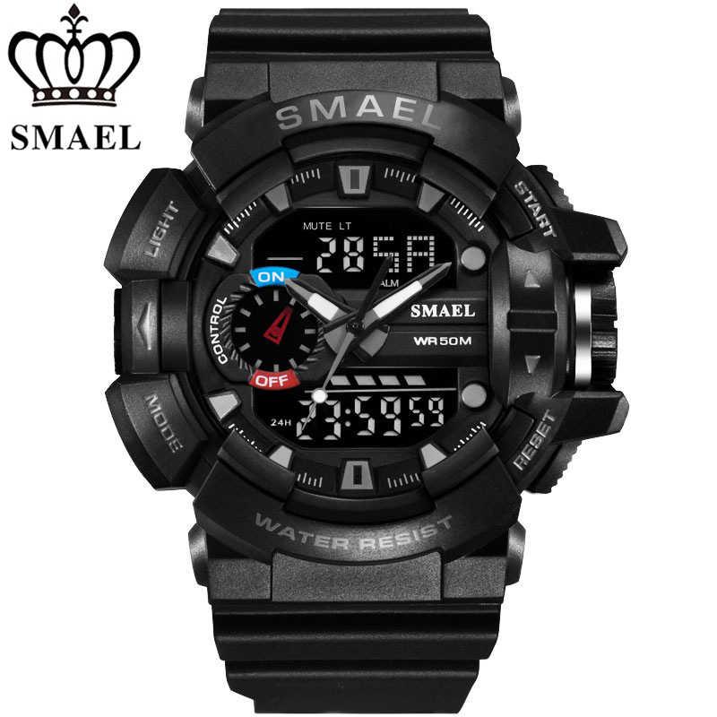 Smael top brand di lusso degli uomini di sport doppio display digitale sport degli uomini della vigilanza resistente agli urti orologio al quarzo militare orologi da polso 2017