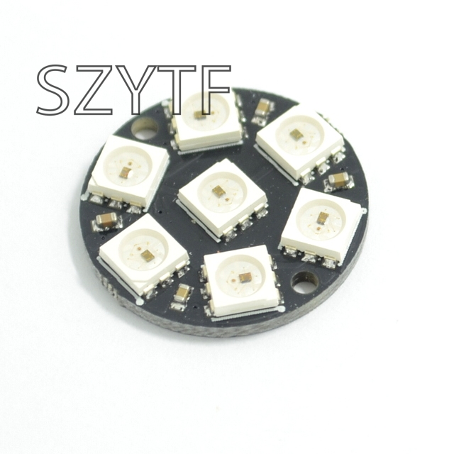 Closeout Deals10pcs 7 Bits 7 X WS2812 5050 RGB LED Ring Lamp Light with Integrated Drivers
