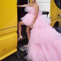 Stunning Evening Dresses Sexy Long Off Shoulder Overskirt Custom Made Party Evening Gowns abendkleider Pink Tulle Formal Dress