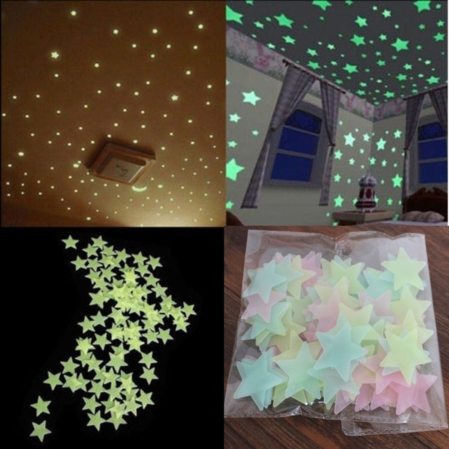 100pcs Wall Stickers Decal Glow In The Dark Baby Kids Bedroom Stars  Luminous Fluorescent Wall Stickers
