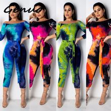 Genuo Sexy Off Shoulder Jumpsuits Women 2019 Summer Overalls Tie Dye Short Playsuit Bandage Bodycon Rompers Womens Jumpsuit