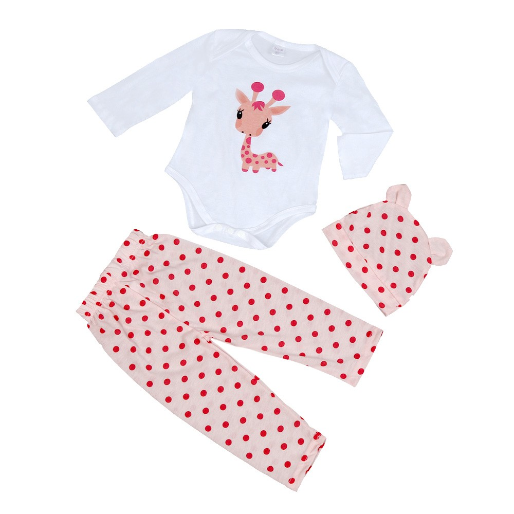 Baby Boys Girls Clothes Newborn Cute Ear Hat+Cartton Long Sleeve Romper+Dots Pants Trousers Outfit Set Bebek Giyim #6929