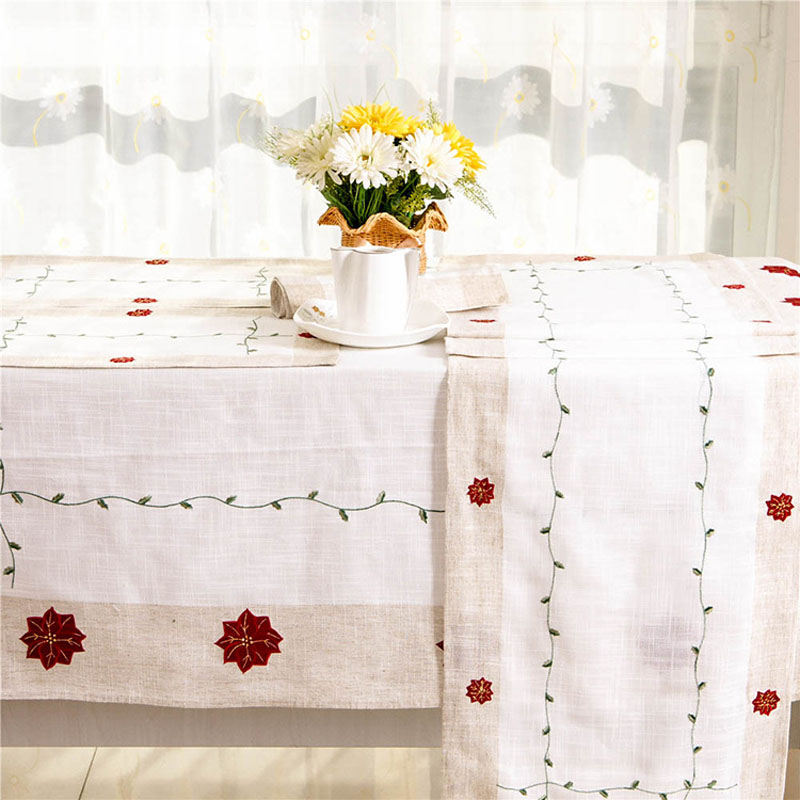 hot sale linen tablecloth flower embroidery table cloth cover for party holiday dinner wedding. Black Bedroom Furniture Sets. Home Design Ideas